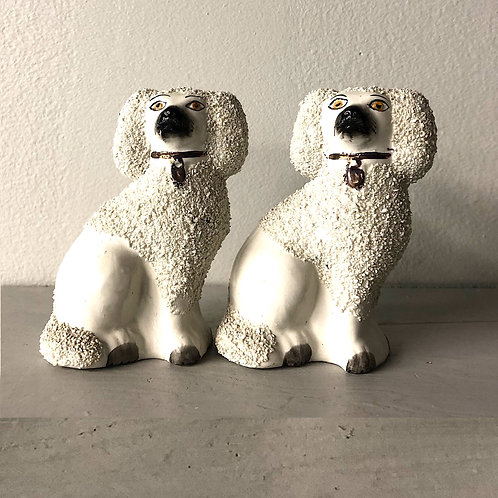 "SOLD: Antique Staffordshire  ""Poodle"" Figurines"