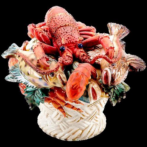 Italian Majolica Faience Fruits of the Sea Centerpiece