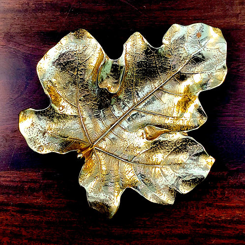 SOLD: Mid-Century Fig Leaf Dish - Hand Cast Solid Brass