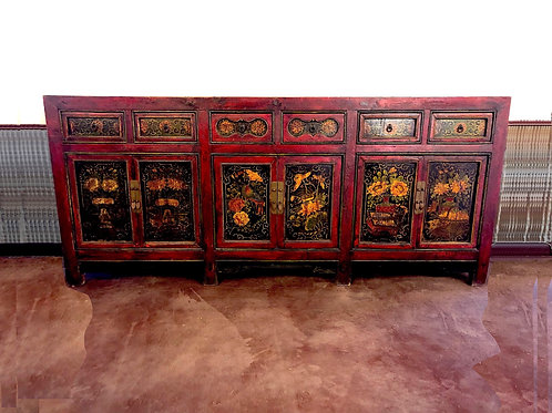 Antique 19th Century Chinese Painted Sideboard - Large