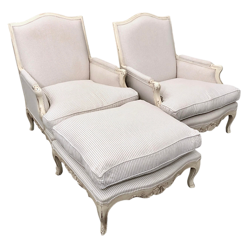 Louis XV Bergere Duo With Matching Ottoman by Wynchwood Design