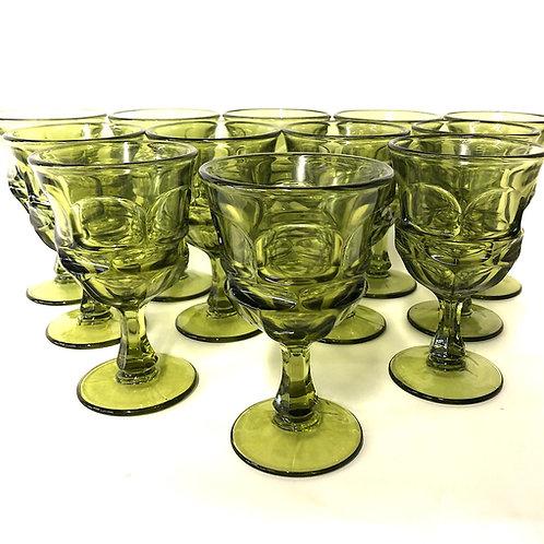SOLD: Mid-Century Fostoria Argus Moss Green Water Goblets - Dozen