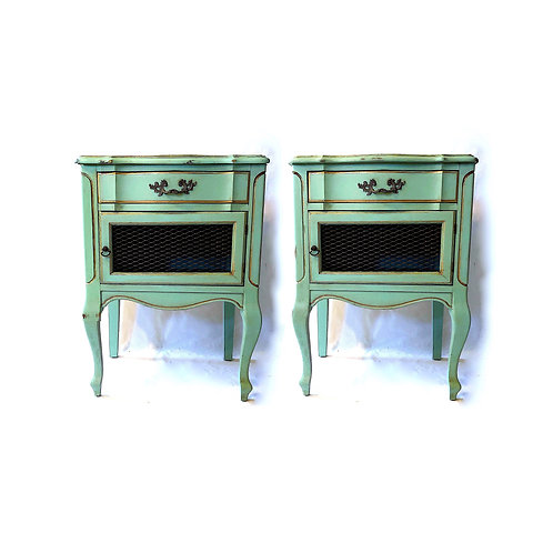 SOLD: Mid-Century French Provincial Turquoise Nightstands - Pair