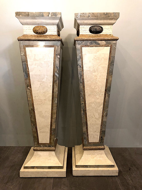 SOLD: Maitland Smith Ltd. Tessellated Marble Pedestals - Pair