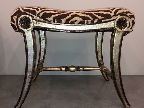 SOLD: Hollywood Regency Silver Gilt & Zebra Benches