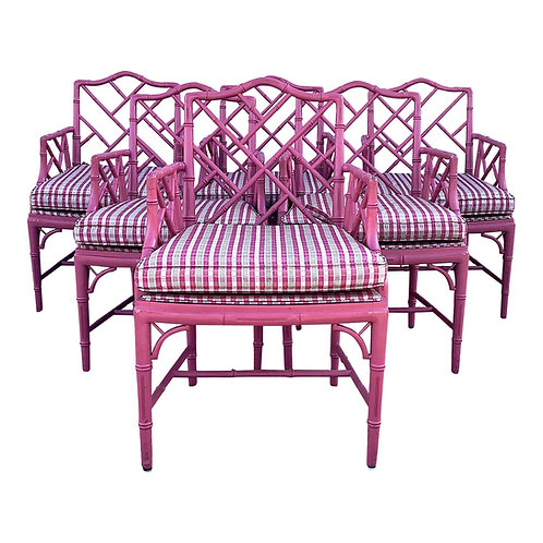 SOLD: Pink Faux Bamboo Chinese Chippendale Armchairs - Set of 6