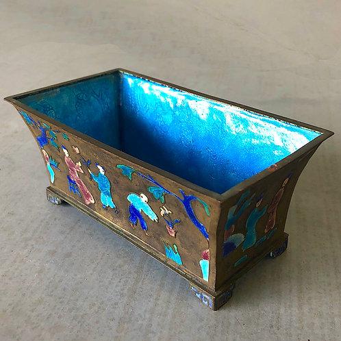 Art Deco Chinese Enameled Bronze Bonsai Planter