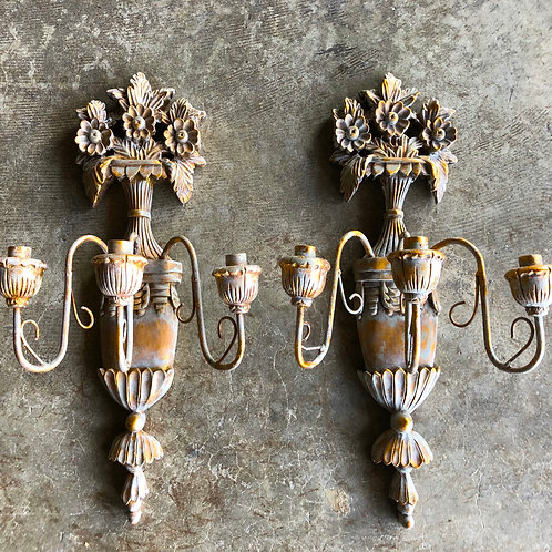 Antique Carved Gilt Italian Wall Sconces - Pair