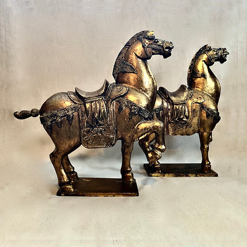 SOLD: Mid-Century Chinese Tang Style Hand Carved Horses - Pair
