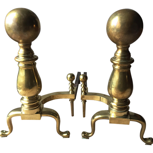 SOLD! Boston Solid Brass Andirons