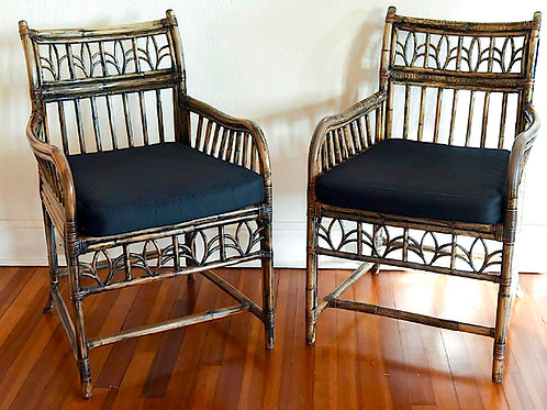 SOLD! Chinoiserie Burnt Bamboo Armchairs (Pair)