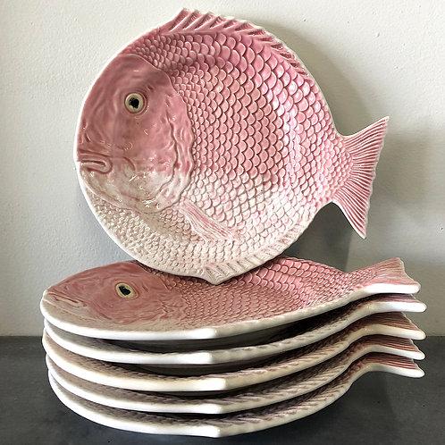 SOLD: Bordallo Pinheiro Pink Fish Salad Plates - Rare Set of Six