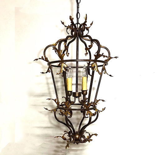 Large Venetian Iron and Gilded Tole Foliate Hanging Lantern