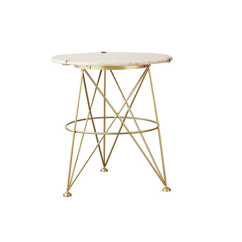 SOLD: Gilt Modern Table with Marble Top