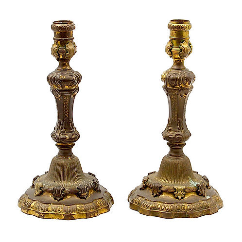SOLD: French Gilt Bronze Candlesticks - PAIR