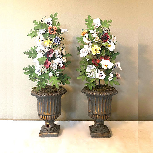 SOLD: Vintage French Tole & Porcelain Flower Topiaries in Urns- Pair