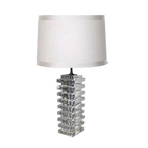 SOLD: Karl Springer Style Stacked Lucite Lamp