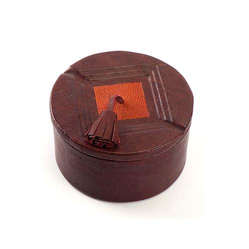 Tasseled Leather Trinket Box