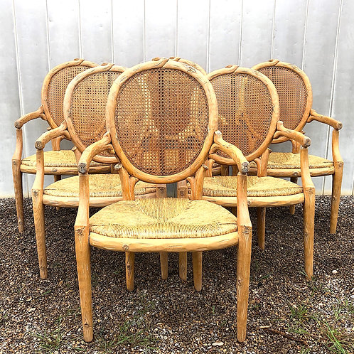SOLD: Faux Bois Carved Louis XVI Armchairs - Set of Six