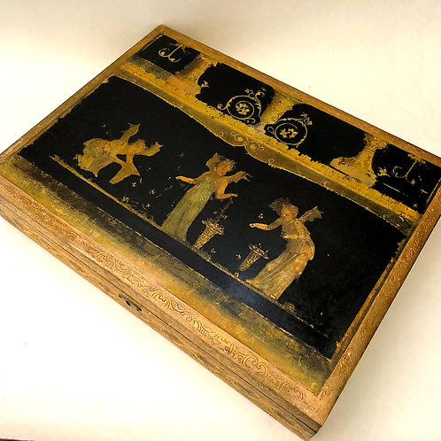 Vintage Florentine Incised Gilt-Wood Writing Box With Pompeiian Decoupage