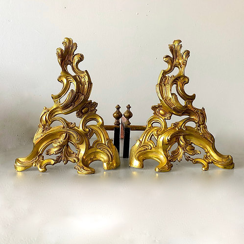 SOLD: Rococo Fire Gilt Solid Brass Chenets
