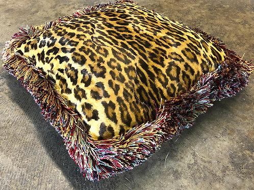 SOLD: Silk Velvet Leopard Pillow - Fringe Passementerie - Dransfield & Ross NY