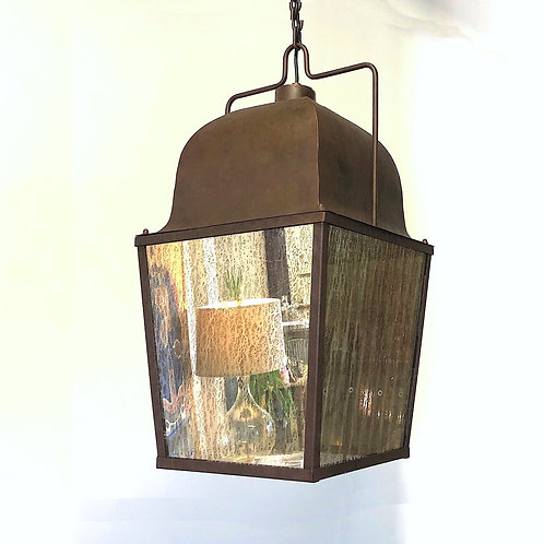 SOLD: Vintage Hanging Lantern - Patinated Metal and Mercury Glass