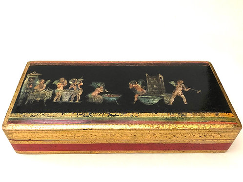 Vintage Florentine Large Incised Giltwood Box With Pompeiian Decoupage