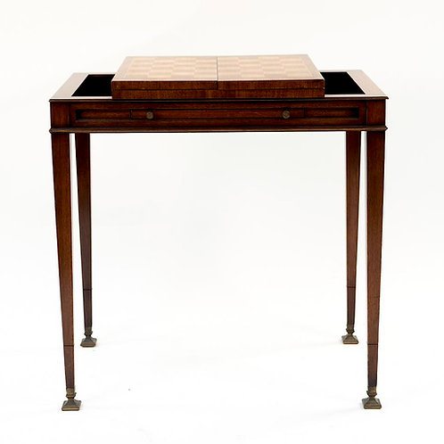 SOLD: Mid-Century Hepplewhite Mahogany Game Table - Weiman