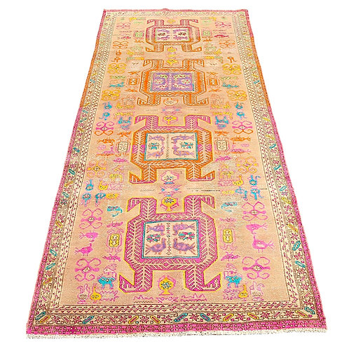 "Mid-Century 3'7"" X 10'1"" Oushak Runner - Distressed Orange, Pink, Turquoise"