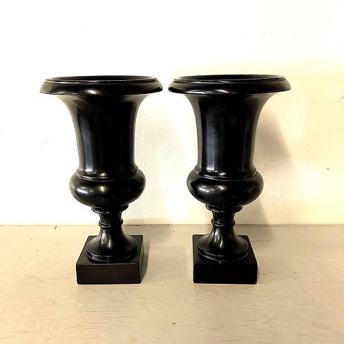 SOLD: Vintage Ebony Black Urns - Pair