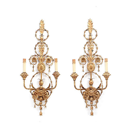SOLD: Adams Style Gilt Metal, Wood, and Gesso Wall Sconces - Pair