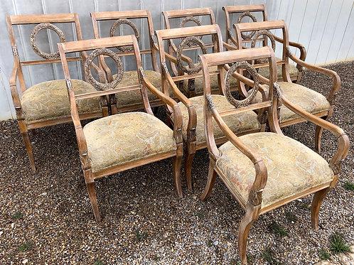 SOLD: Regency Limed Gilt Laurel Wreath Armchairs - Set of Eight