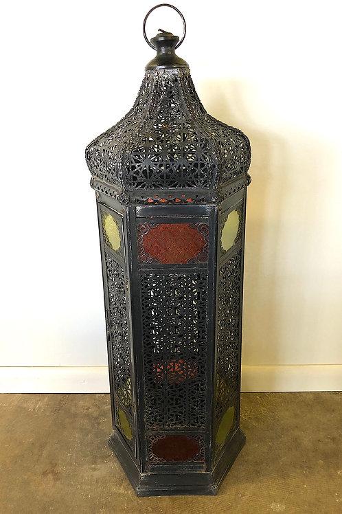 Moroccan Moorish Pierced Metal Lantern - Over Three Feet Tall
