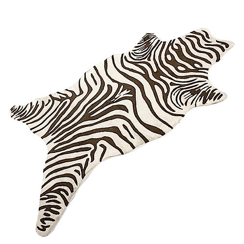 SOLD: Hand-Hooked Zebra Pattern Rug - 5' x 7'