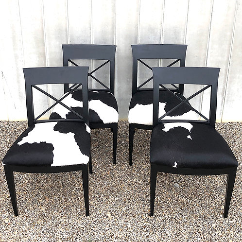 SOLD: Baker Furniture Archetype Dining Chairs with Cowhide Upholstery - Set of 4