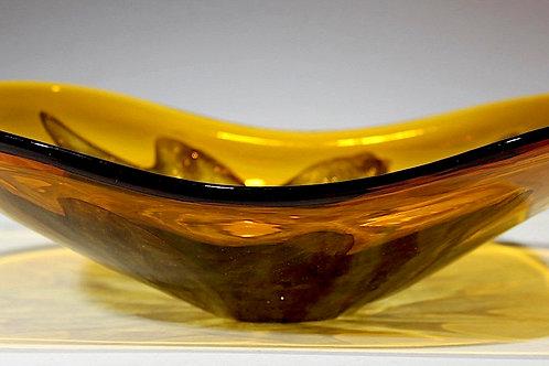 SOLD: Murano Amber/Gold Burst Dish