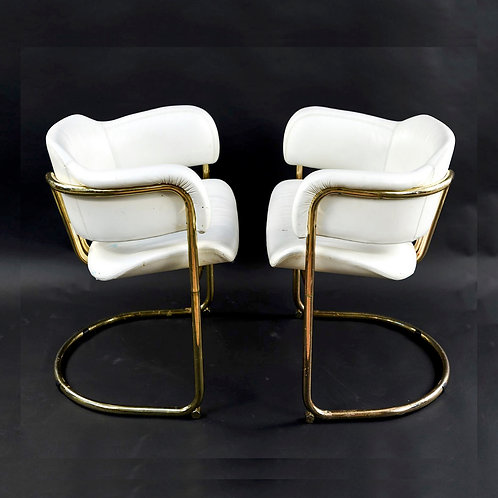 SOLD: Mid-Century White Leather/Brass Club Chairs - PAIR