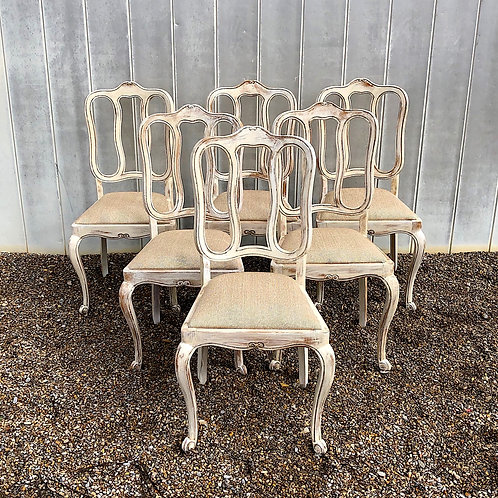 SOLD: Vintage Mid Century Louis XV Chairs - Set of 6