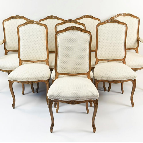 SOLD! French Carved Walnut Dining Chairs - Set of 8