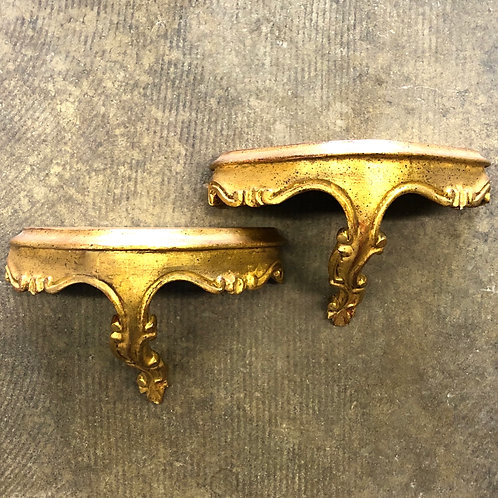 SOLD: Mid-Century Florentine Gilt Wood Wall Brackets - a Pair