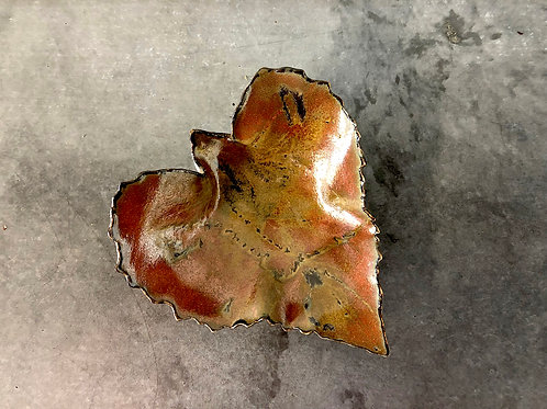 SOLD: Art Pottery Dish - Sunflower Leaf by Gail J. Heilmann