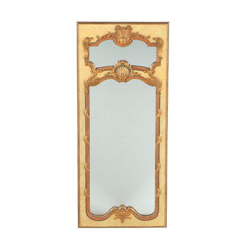 SOLD: French Trumeau Polychrome Gilt Mirror