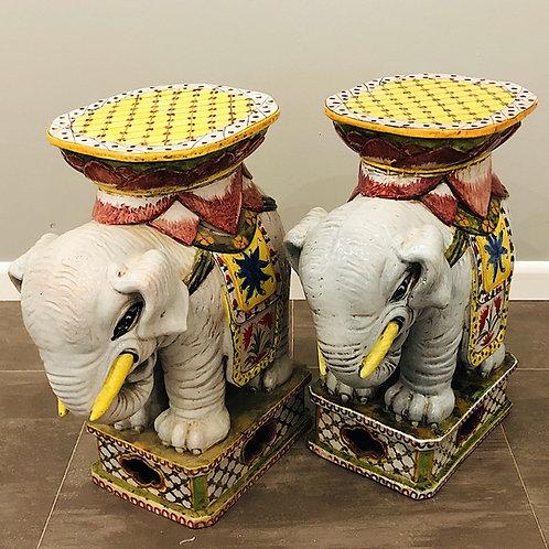 SOLD: Mid-Century Italian Faience Elephant Garden Stools - Pair