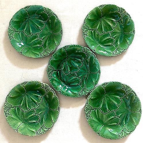 Circa 1847 Copeland Acanthus Leaf Majolica Plates - Set of Five