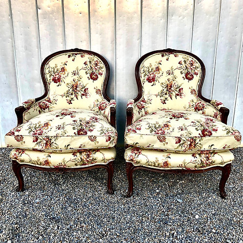 Vintage French Bergeres - Floral Linen - Down Filled - Pair