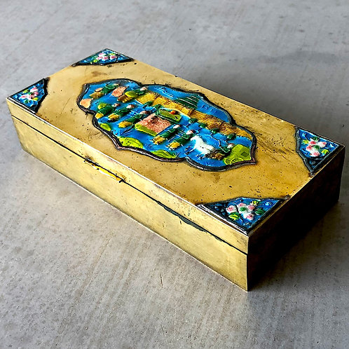 SOLD: Vintage Chinese Brass Enamel Cigarette Box