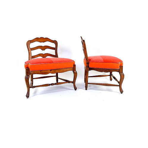 SOLD: French Country Slipper Chairs - Pair