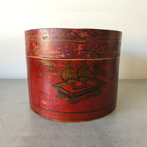 Antique Chinese Hat Box - Red Lacquer - Gold Decorated