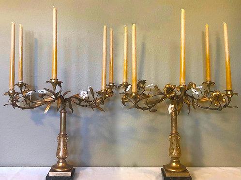SOLD: Regency Fire Gilt Girandole Candelabra Pair- Lord Acland Circa 1836